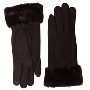 Solid Fur Trim Touch Screen Gloves